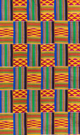 Kente cloth texture, the traditional garment worn by Akans and Ashanti kingtom Archivio Fotografico