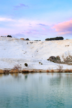 Park in Pamukkale with travertines during sunset time