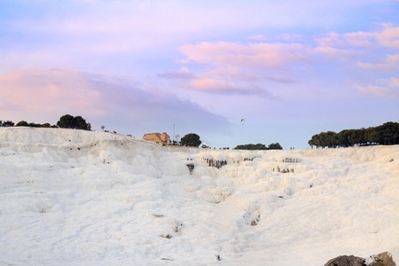 pamuk: Pamukkale with hierapolis during sunset