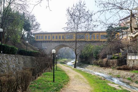 Irgandi bridge from park and river in Bursa, Turkey