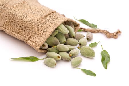 Unripe almonds in vintage bag on white background