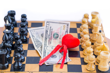Love, money, power triangle with chess opponents