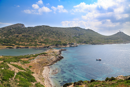 Military port part of old greek city knidos with light house during daytime Stok Fotoğraf