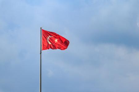 Turkish flag with blue sky