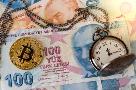 Bitcoin and pocket watch on turkish lira