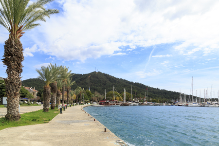 Gocek seaport with palm trees in Gocek, Turkey Stok Fotoğraf
