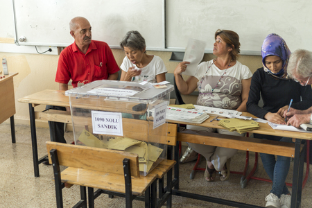 At Marmaris Ortaokulu (Middle School) - June 24, 2018 : People are voting for presidents and parties in early turkish election in Marmaris, Turkey Editöryel