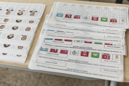 At Marmaris Ortaokulu (Middle School) - June 24, 2018 : People are voting for presidents and parties in early turkish election in Marmaris, Turkey Editorial