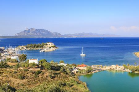 Taslik beach with lake and Sea port of Datca, Turkey Фото со стока