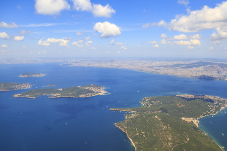 Prince islands from sky (Buyukada, heybeliada, and burgazada respectively ) from sky in Istanbul, Turkey