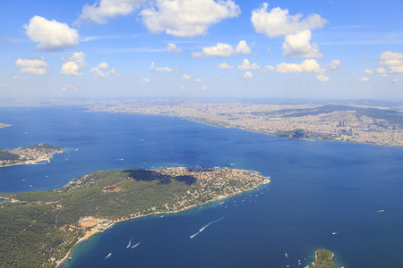 Prince islands from sky (Buyukada ) from sky in Istanbul, Turkey