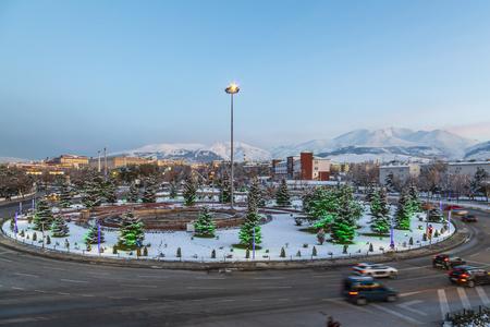Cityscape of Erzurum with palandoken mountain from ataturk universitesi street in Erzurum, Turkey