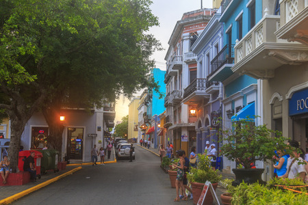 At Calle San Francisco in San Juan, Puerto Rico - November 30, 2016: San Francisco Street (Calle) in old town San Juan.