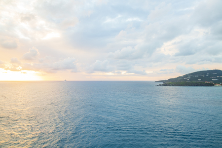 Beautiful sunset in Philipsburg, St Maarten island in caribbean sea