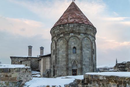 Back part of Cifte minareli medres (double minarets old school) in Erzurum, Turkey