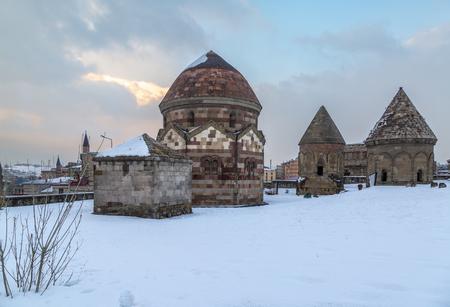Uc kumbetler (three kumbets) historical tombs in Erzurum, Turkey