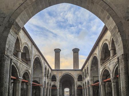 Inside of Cifte Minareli (Double minarets) medrese (old school) in Erzurum, Turkey