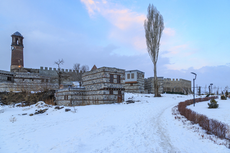 Erzurum castle and park during winter with snow in Erzurum, Turkey Editöryel