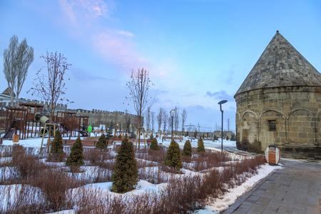 Park and playground area near historical castle of Erzurum in Erzurum, Turkey Editöryel