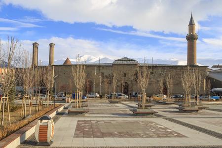 At Erzurum old city, Turkey - April 7, 2019: Erzurum Ulu Cami (mosque) from erzurum park view in Erzurum, Turkey Editöryel