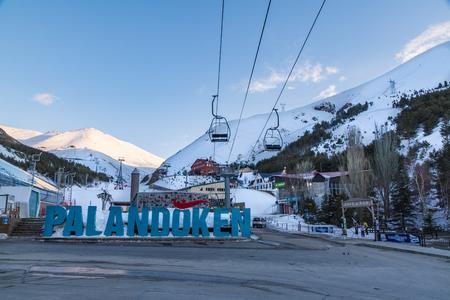 At Palandoken ski center, Erzurum, Turkey - March 30, 2019 : Skilifts and paladoken ski center at ejder hill in Palandoken mountain, Erzurum, Turkey