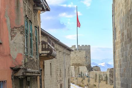Old city part of Erzurum with view of Ulu mosque and erzurum castle in Erzurum, Turkey