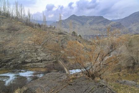 Tortum creek  from tortum(uzundere) waterfall in Uzundere, Erzurum, Turkey