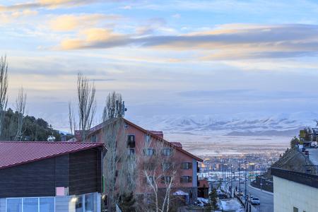 At palandoken ski center, Erzurum, Turkey - March 30, 2019 : Cityscape of Erzurum from palandoken ski center in Erzurum, Turkey