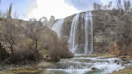 Panoramic image of Tortum (Uzundere) waterfall from down in Uzundere, Erzurum, Turkey Stok Fotoğraf