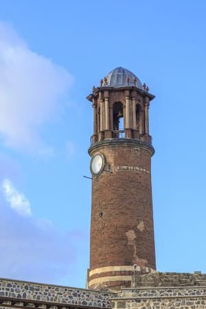 Historical watch tower in Erzurum castle in Erzurum, Turkey