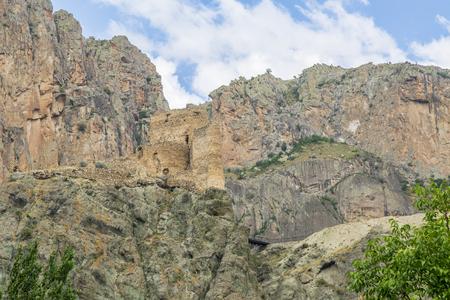 Enguzek kapi castle in high mountain in Uzundere, Erzurum, Turkey