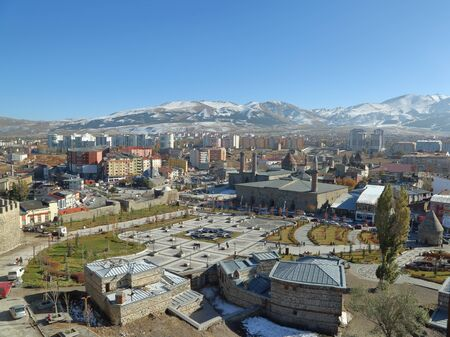 Erzurum cityscape of historical area in Erzurum, Turkey
