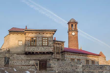 Erzurum houses and watch tower in castle in Erzurum, Turkey Editoriali