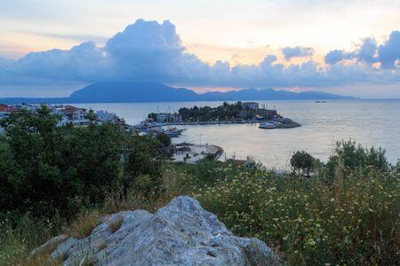 Datca port during sunrise in spring in Datca, Mugla, Turkey