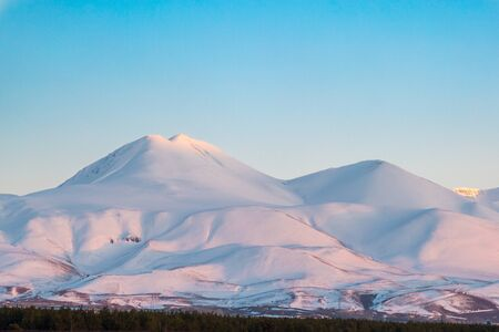 Snow covered palandoken mountains with clear sky Archivio Fotografico