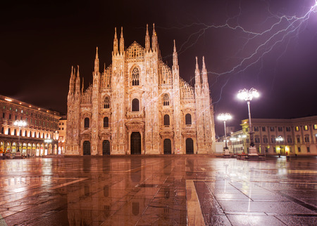 iconic: Duomo di Milano (Milan Cathedral) and Piazza del Duomo in the Morning, Milan, Italy