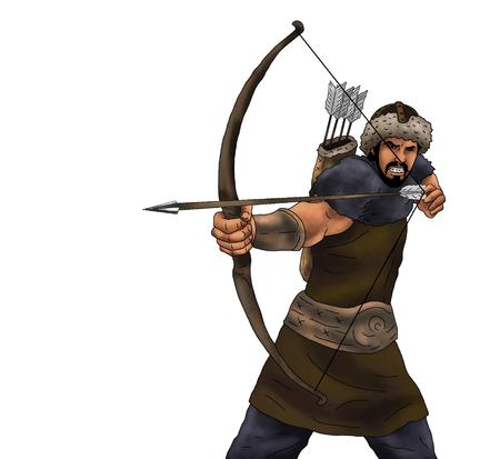 Illustration of archery hunter