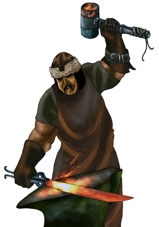 Illustration of blacksmith forging sword