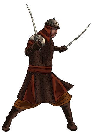 Warrior with swords illustration