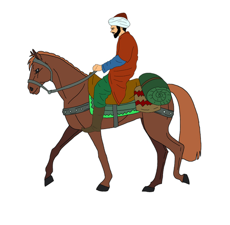 man ride horse Stock Photo