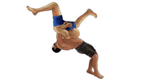 Wrestling man illustration Фото со стока