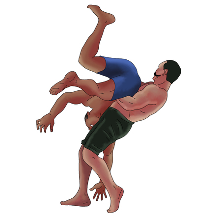 Wrestling mens illustration