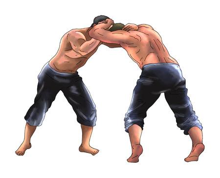 Wrestling man illustration Stockfoto