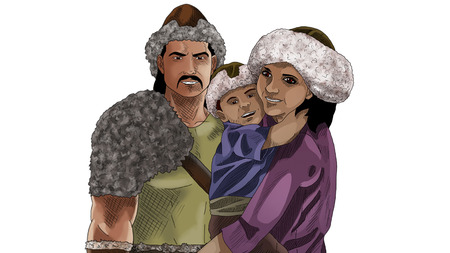 Family with traditional clothes