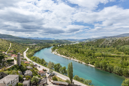 neretva: Bird view at Pocitelij on the Neretva River