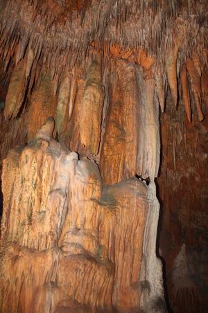 stalactites and stalagmites in the cave, in Damlatas