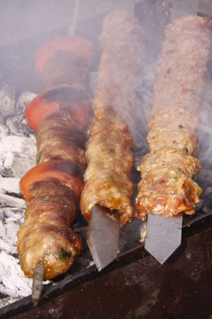 shishkabab: It looks delicious barbecued kebabs Stock Photo
