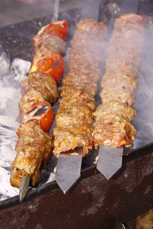 barbequing: It looks delicious barbecued kebabs Stock Photo