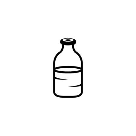 Glass bottle full of kefir, vector icon illustration