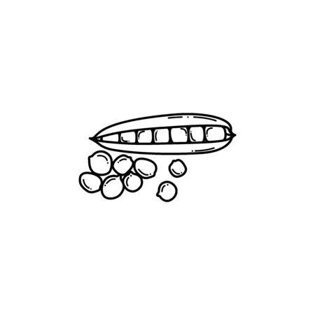 Fresh peas and grains, vector illustration Illustration